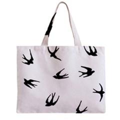 Black Bird Fly Sky Zipper Mini Tote Bag by Alisyart
