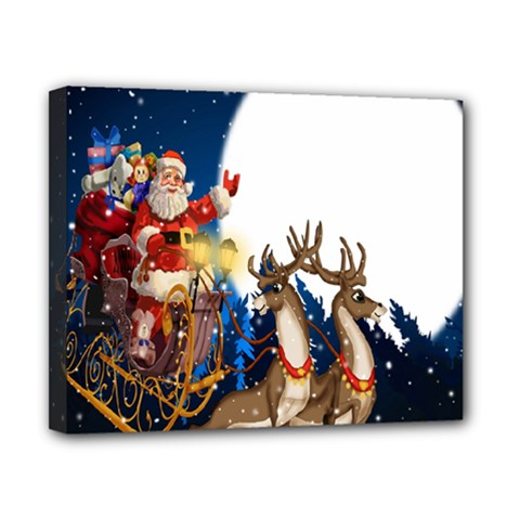 Christmas Reindeer Santa Claus Snow Night Moon Blue Sky Canvas 10  X 8  by Alisyart