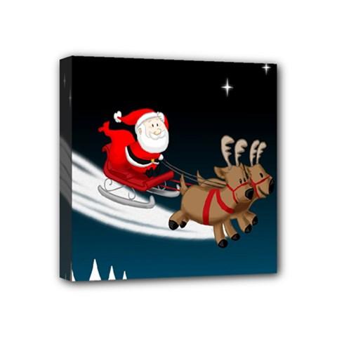 Christmas Reindeer Santa Claus Snow Star Blue Sky Mini Canvas 4  X 4  by Alisyart