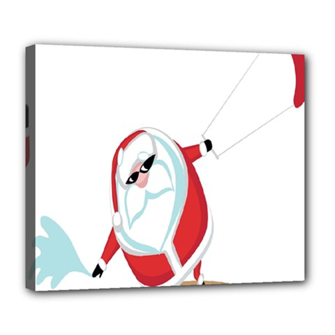 Christmas Santa Claus Snow Cool Sky Deluxe Canvas 24  X 20   by Alisyart