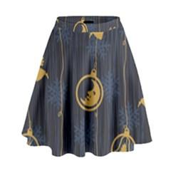 Christmas Angelsstar Yellow Blue Cool High Waist Skirt by Alisyart