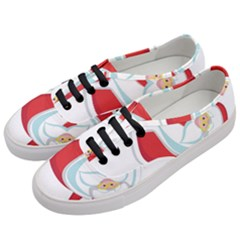Christmas Santa Claus Snow Sky Playing Women s Classic Low Top Sneakers by Alisyart