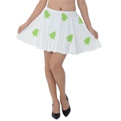 Christmas Tree Green Velvet Skater Skirt