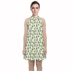 Christmas Pattern Gif Star Tree Happy Velvet Halter Neckline Dress  by Alisyart