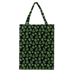 Christmas Pattern Gif Star Tree Happy Green Classic Tote Bag by Alisyart