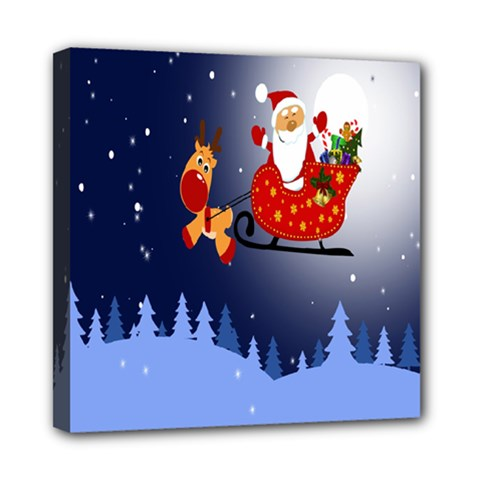 Deer Santa Claus Flying Trees Moon Night Merry Christmas Mini Canvas 8  X 8  by Alisyart