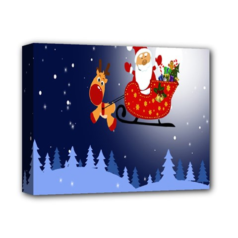 Deer Santa Claus Flying Trees Moon Night Merry Christmas Deluxe Canvas 14  X 11  by Alisyart
