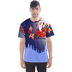 Deer Santa Claus Flying Trees Moon Night Merry Christmas Men s Sports Mesh Tee by Alisyart