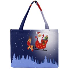 Deer Santa Claus Flying Trees Moon Night Merry Christmas Mini Tote Bag by Alisyart