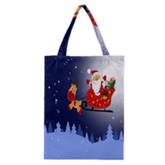 Deer Santa Claus Flying Trees Moon Night Merry Christmas Classic Tote Bag by Alisyart