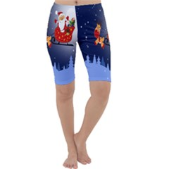 Deer Santa Claus Flying Trees Moon Night Merry Christmas Cropped Leggings  by Alisyart