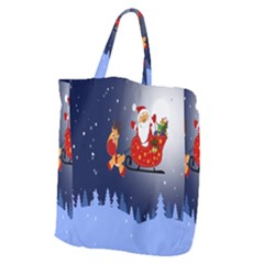 Deer Santa Claus Flying Trees Moon Night Merry Christmas Giant Grocery Zipper Tote by Alisyart