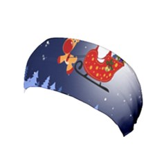 Deer Santa Claus Flying Trees Moon Night Merry Christmas Yoga Headband by Alisyart