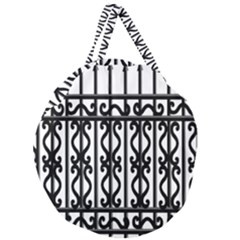 Inspirative Iron Gate Fence Grey Black Giant Round Zipper Tote by Alisyart