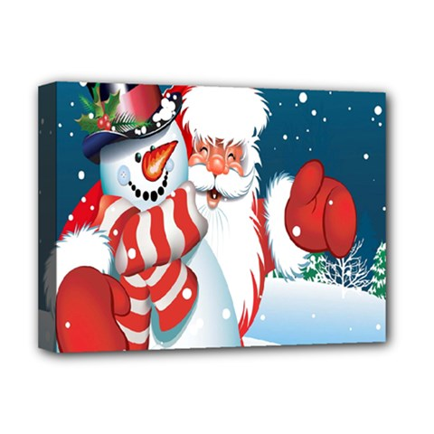 Hello Merry Christmas Santa Claus Snow Blue Sky Deluxe Canvas 16  X 12   by Alisyart