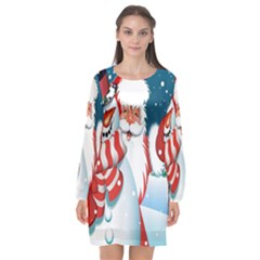 Hello Merry Christmas Santa Claus Snow Blue Sky Long Sleeve Chiffon Shift Dress  by Alisyart