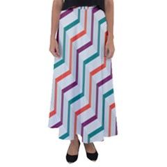 Line Color Rainbow Flared Maxi Skirt