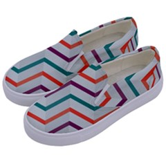 Line Color Rainbow Kids  Canvas Slip Ons by Alisyart