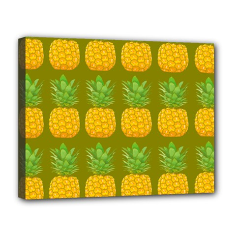 Fruite Pineapple Yellow Green Orange Canvas 14  X 11  by Alisyart