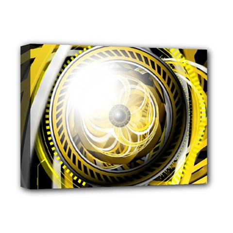 Incredible Eye Of A Yellow Construction Robot Deluxe Canvas 16  X 12   by jayaprime