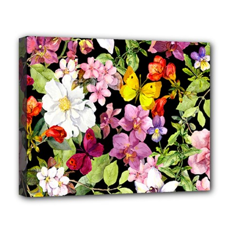 Beautiful,floral,hand Painted, Flowers,black,background,modern,trendy,girly,retro Deluxe Canvas 20  X 16   by 8fugoso