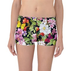 Beautiful,floral,hand Painted, Flowers,black,background,modern,trendy,girly,retro Boyleg Bikini Bottoms by 8fugoso
