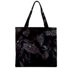 Black And White Leaves Photo Zipper Grocery Tote Bag by dflcprintsclothing