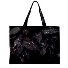 Black And White Leaves Photo Zipper Mini Tote Bag by dflcprintsclothing