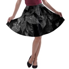 Black And White Leaves Photo A Line Skater Skirt by dflcprintsclothing