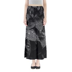Black And White Leaves Photo Full Length Maxi Skirt by dflcprintsclothing