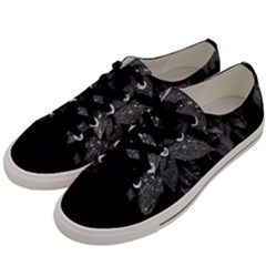 Black And White Leaves Photo Men s Low Top Canvas Sneakers by dflcprintsclothing