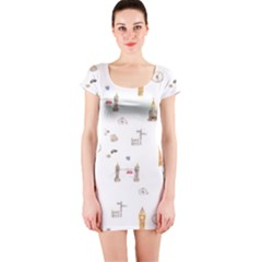 Graphics Tower City Town Short Sleeve Bodycon Dress