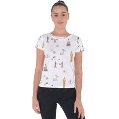 Graphics Tower City Town Short Sleeve Sports Top  by Alisyart