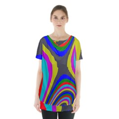 Pattern Rainbow Colorfull Wave Chevron Waves Skirt Hem Sports Top by Alisyart