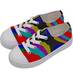 Pattern Rainbow Colorfull Wave Chevron Waves Kids  Low Top Canvas Sneakers by Alisyart