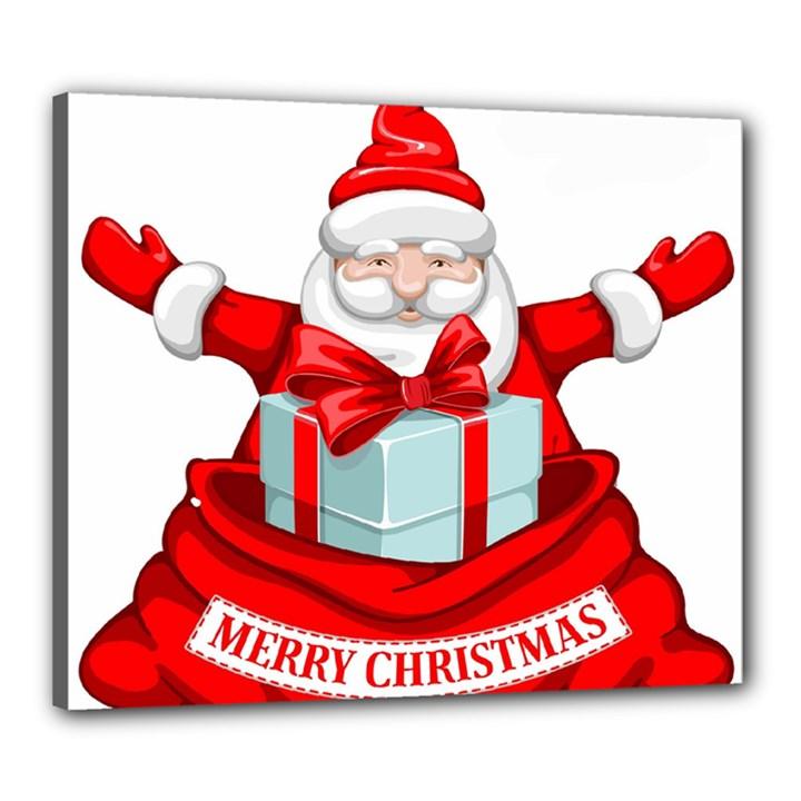 Merry Christmas Santa Claus Canvas 24  x 20
