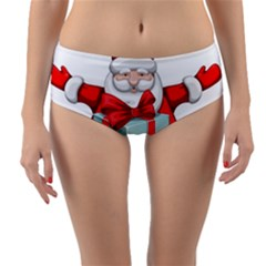 Merry Christmas Santa Claus Reversible Mid Waist Bikini Bottoms by Alisyart