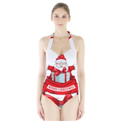 Merry Christmas Santa Claus Halter Swimsuit by Alisyart