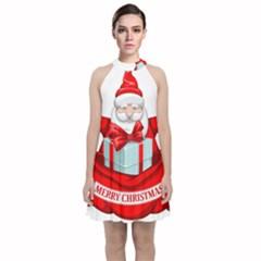 Merry Christmas Santa Claus Velvet Halter Neckline Dress