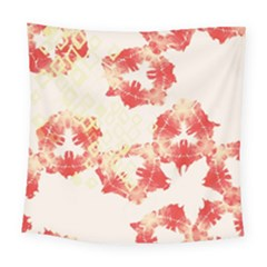 Pattern Flower Red Plaid Green Square Tapestry (large) by Alisyart