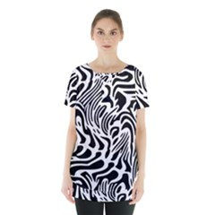 Psychedelic Zebra Pattern Black Skirt Hem Sports Top by Alisyart