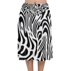Psychedelic Zebra Pattern Black Velvet Flared Midi Skirt by Alisyart