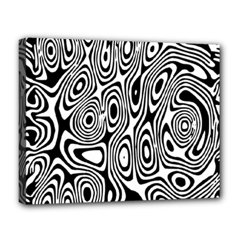 Psychedelic Zebra Black Circle Canvas 14  X 11  by Alisyart