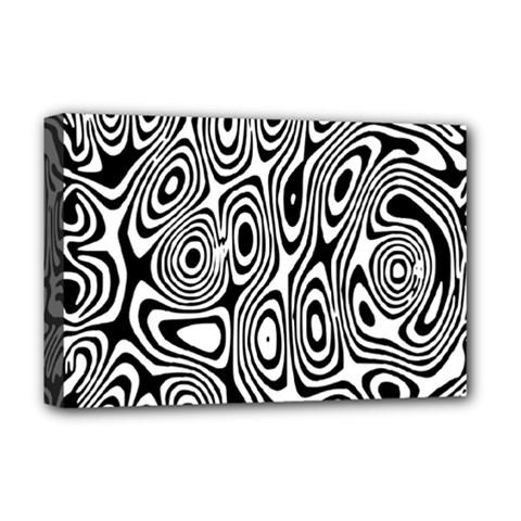 Psychedelic Zebra Black Circle Deluxe Canvas 18  X 12   by Alisyart