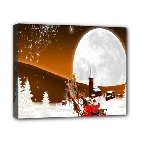 Santa Claus Christmas Moon Night Canvas 10  X 8  by Alisyart
