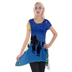 Santa Claus Christmas Sleigh Flying Moon House Tree Short Sleeve Side Drop Tunic by Alisyart