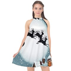 Santa Claus Christmas Snow Cool Night Moon Sky Halter Neckline Chiffon Dress