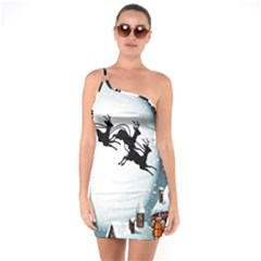 Santa Claus Christmas Snow Cool Night Moon Sky One Soulder Bodycon Dress