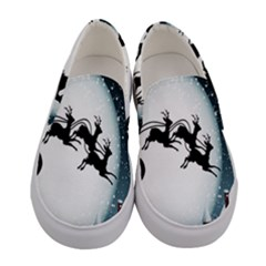 Santa Claus Christmas Snow Cool Night Moon Sky Women s Canvas Slip Ons