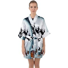 Santa Claus Christmas Snow Cool Night Moon Sky Quarter Sleeve Kimono Robe